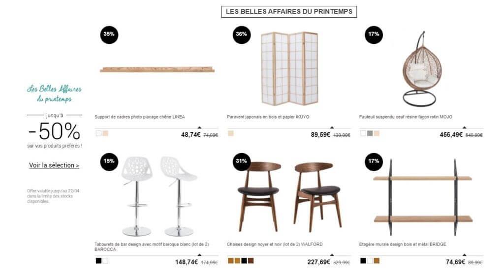 Sélection de meubles Miliboo en promo